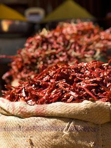 Chillies on Market Stall, Udaipur, Rajasthan, India, Asia by Ben Pipe