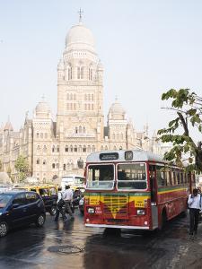 Double Decker Bus Outside Mumbai Municipal Corporation Building, Mumbai (Bombay), India, South Asia by Ben Pipe