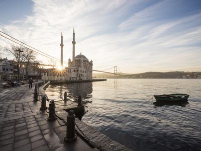 Exterior of Ortakoy Mosque and Bosphorus Bridge at Dawn, Ortakoy, Istanbul, Turkey