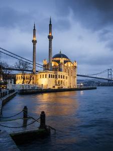 Exterior of Ortakoy Mosque and Bosphorus Bridge at Night, Ortakoy, Istanbul, Turkey by Ben Pipe