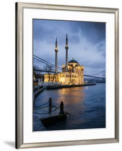 Exterior of Ortakoy Mosque and Bosphorus Bridge at Night, Ortakoy, Istanbul, Turkey by Ben Pipe