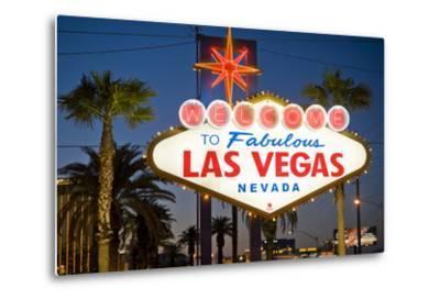 Las Vegas Sign at Night, Nevada, United States of America, North America
