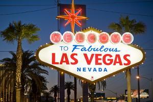Las Vegas Sign at Night, Nevada, United States of America, North America by Ben Pipe
