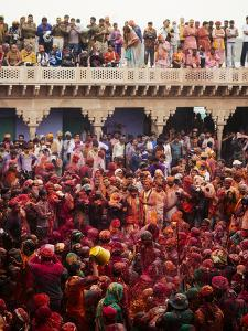 Lathmar Holi Celebrations in Nand Rae Temple, Nandagaon, Braj, Uttar Pradesh, India, Asia by Ben Pipe