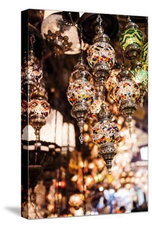 Mosaic Glass Turkish Lights on Display, Grand Bazaar (Kapali Carsi), Istanbul, Turkey