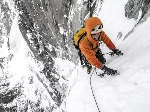 Tom Grant Arriving in the Upper Couloir Nord Des Drus, Chamonix, France by Ben Tibbetts