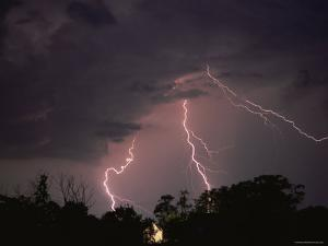 Lightning Over Floodlit Building, Pusztaszer, Hungary by Bence Mate