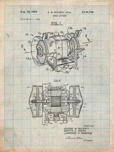 Bench Grinder Patent-Cole Borders-Art Print