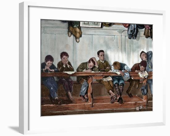 Bench of Punished in a School. Engraving, 1884--Framed Giclee Print