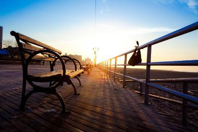 Bench on Coney Island Boardwalk-EvanTravels-Photographic Print