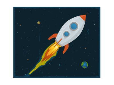 Rocket Ship Blasting Through Space by Benchart