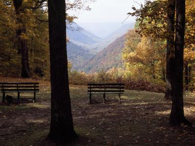 Benches Beckon Rest and Provide a Scenic View of Manns Creek Gorge-Raymond Gehman-Photographic Print