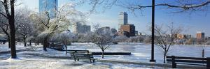 Benches in a Park, Charles River Park, Boston, Massachusetts, USA