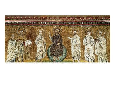 Benedictory Jesus with Sts Lawrence, Peter, Paul, Stephen, Hippolytus and Pope Pelagio-Felice Giani-Giclee Print