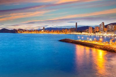 Benidorm Alicante Sunset Playa De Poniente Beach in Spain Valencian Community-holbox-Photographic Print
