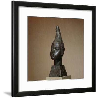 Benin brass figure of Queen Idia, Nigeria, 16th century-Werner Forman-Framed Photographic Print