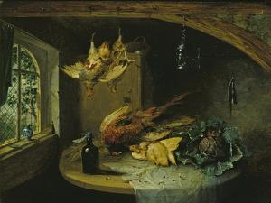 Pheasants, Cabbage and a Bottle of Wine on a Table by Benjamin Blake