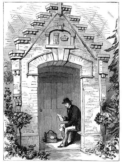 Benjamin Disraeli (1804-188) Reading Letters in the Porch of Hughenden Lodge, 19th Century--Giclee Print