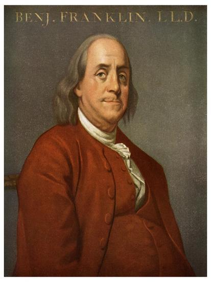 Benjamin Franklin, American Scientist and Politician, 1782-Joseph of Derby Wright-Giclee Print