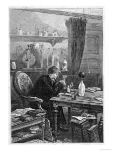 Benjamin Franklin American Statesman Scientist and Philosopher Working in His Study