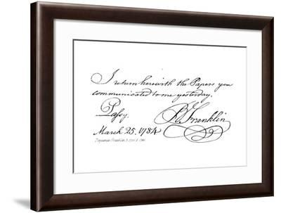 Benjamin Franklin, B 1706, D 1790--Framed Giclee Print