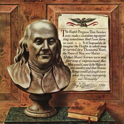 """Benjamin Franklin - bust and quote,"" January 19, 1946-John Atherton-Giclee Print"