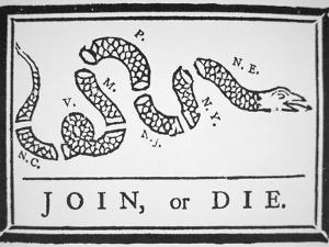 Join, or Die (Litho) by Benjamin Franklin