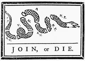 Join, or Die Political Cartoon by Benjamin Franklin