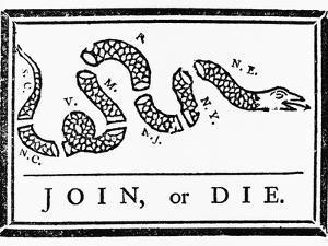 Join, or Die Political Cartoon by Benjamin Franklin