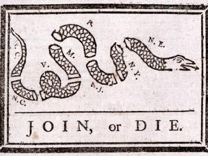 Join or Die Political Cartoon by Benjamin Franklin