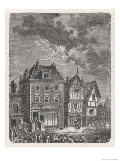 Benjamin Franklin's First Lightning Conductor on Benjamin West's House- Lebreton-Giclee Print