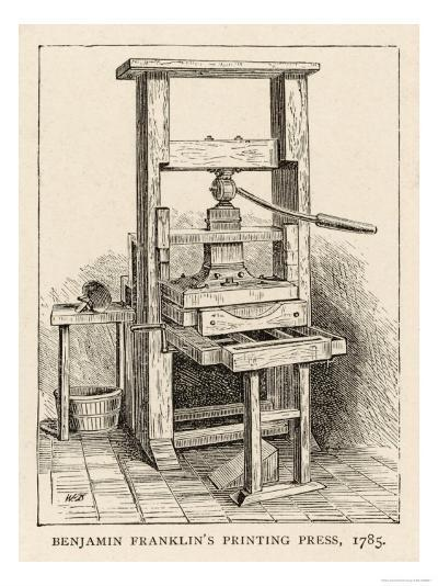 Benjamin Franklin's Printing Press--Giclee Print