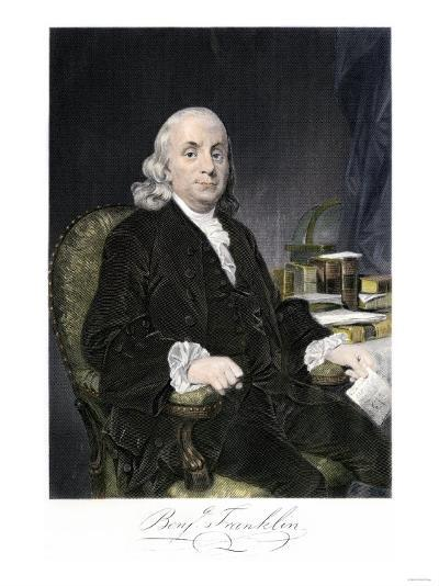 Benjamin Franklin, Seated, with Autograph--Giclee Print