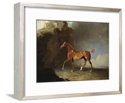 A Golden Chestnut Racehorse by a Rock Formation, 1800