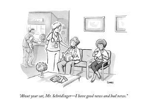 """About your cat, Mr. Schrödinger—I have good news and bad news."" - New Yorker Cartoon by Benjamin Schwartz"