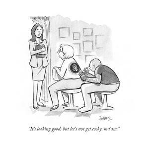 """It's looking good, but let's not get cocky, ma'am."" - Cartoon by Benjamin Schwartz"