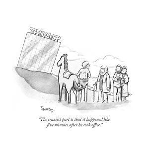 """The craziest part is that it happened like five minutes after he took off?"" - Cartoon by Benjamin Schwartz"