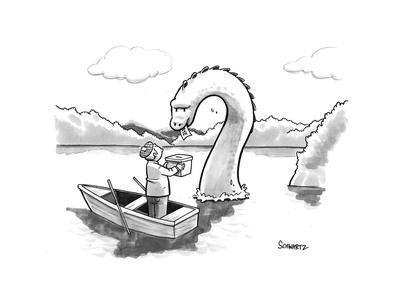 The Loch Ness monster votes for Scotland Independance. - New Yorker Cartoon
