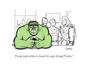 """Trump inspired him to channel his anger through Twitter."" - Cartoon by Benjamin Schwartz"