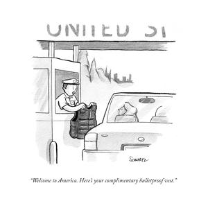 """""""Welcome to America. Here's your complimentary bulletproof vest."""" - Cartoon by Benjamin Schwartz"""