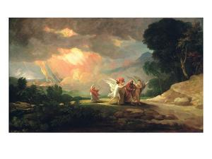 Lot Fleeing from Sodom, 1810 (Oil on Panel) by Benjamin West