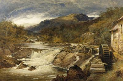 Mountainous Rocky Landscape with Stream and Watermill