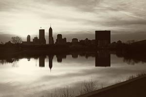 Black and White Panorama of Indianapolis by benkrut
