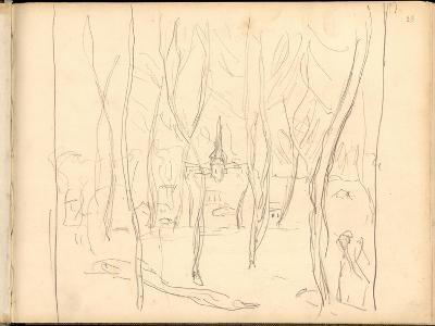 Bennecourt Seen Through the Trees (Pencil on Paper)-Claude Monet-Giclee Print