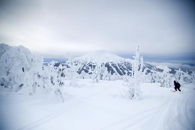 A Man Backcountry Skiing on Mt. Tumalo, Oregon Cascades