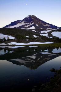 A Waxing Moon and South Sister Reflected in Camp Lake, Oregon Cascades by Bennett Barthelemy