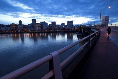 The Portland Oregon Skyline Seen from Burnside Bridge in Early Evening