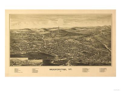 Bennington, Vermont - Panoramic Map-Lantern Press-Art Print