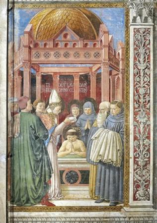 Baptism of St. Augustine, Detail from Stories of St. Augustine, 1465 by Benozzo Gozzoli