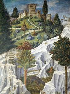Landscape with a Castle, Detail from the Procession of the Magi King's to Bethlehem, 1459 by Benozzo Gozzoli